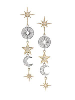 14K Yellow Gold, 14K White Gold & Diamond Celestial Drop Earrings