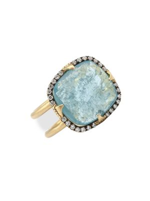 Aqua 18K Yellow Gold, Aquamarine & Diamond Cocktail Ring