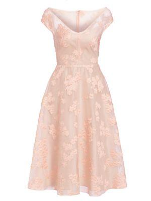 Open Neck Fil Coupé Floral Fit-&-Flare Dress