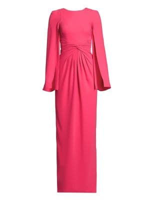 Knotted Cape-Sleeve Gown