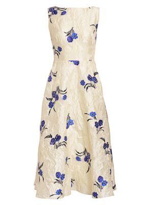 Floral Fil Coupé Boatneck Dress