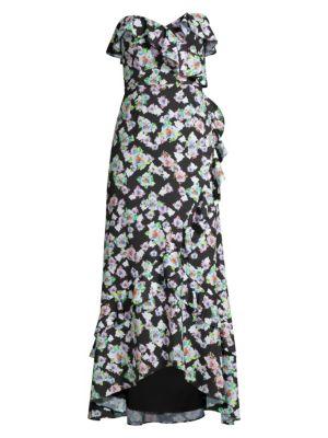 Floral Strapless Flounce Dress
