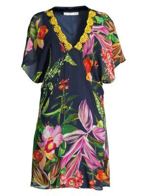 Shangri-La Rainforest Print Silk Shift Dress