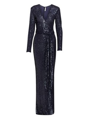 Sequin Long-sleeve Belted Column Gown