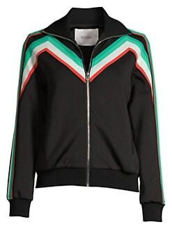 마쥬 조깅 자켓 MAJE Stripe Jogging Jacket,Black