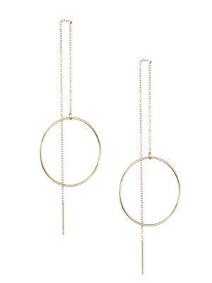 14K Gold Circle Threader Earrings