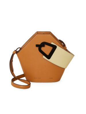 Mini Johnny Geometric Leather Bucket Bag