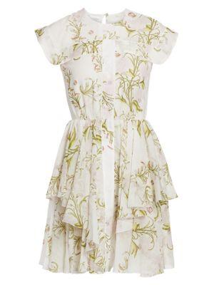 Cap-Sleeve Silk Ruffle Dress