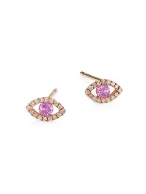 14K Rose Gold, Diamond & Pink Sapphire Evil Eye Stud Earrings