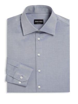 Button-Front Cotton Dress Shirt