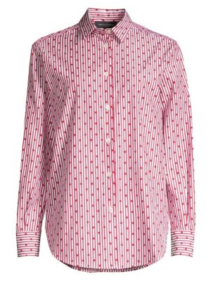 Pinstripe & Polka-Dot Button-Down Shirt