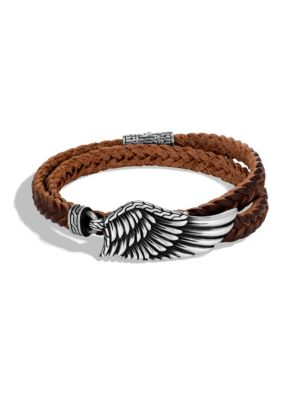 Legends Eagle Silver Double Wrap Braided Leather Cord Bracelet