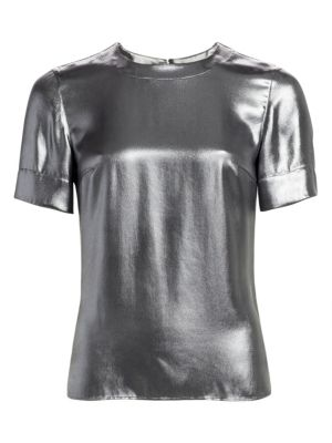 Metallic Crepe Short-Sleeve Blouse