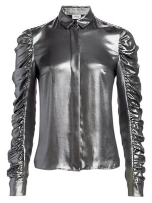 Metallic Ruched Sleeve Blouse