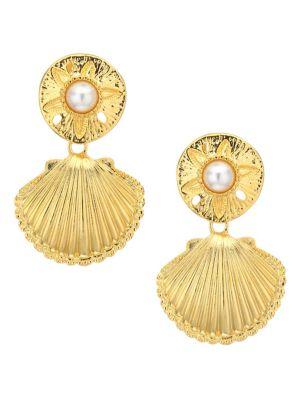 Shell Faux Pearl Clip-On Earrings