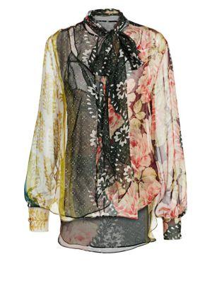 Patchwork Floral Silk Tieneck Blouse