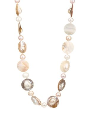 KENNETH JAY LANE | 8MM & 18MM Freshwater Pearl 22K Goldplated Shell Strand Necklace | Goxip