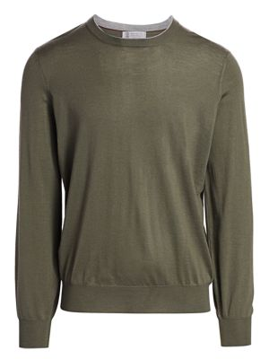 Suede Elbow Patch Crew Sweater
