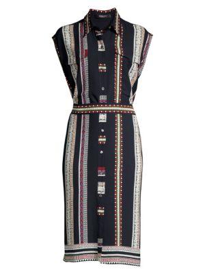 Sleeveless Silk Belted Shirtdress