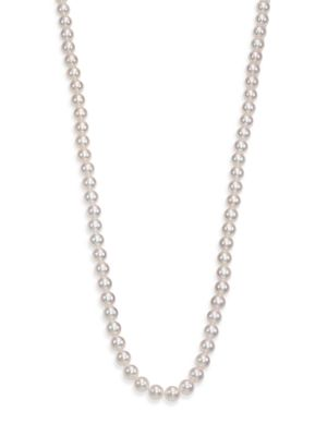 7MM Cultured White Pearl Strand Long Necklace