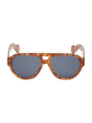 57MM Rounded Aviator Havana Sunglasses