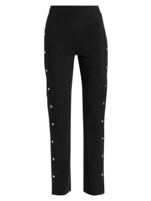 Veerle High-Waist Side-Snap Pull-On Pants