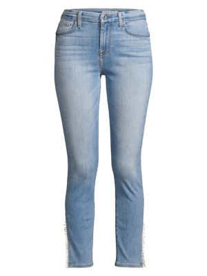 Slim-Fit Cropped Skinny Fray Cuff Jeans