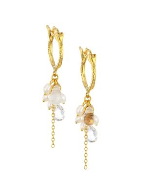 Delicate Dew 24K Yellow Gold Multi-Stone Cluster Earrings
