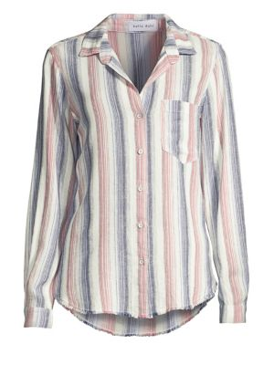 Bella Dahl Striped Linen-Blend Collared Blouse