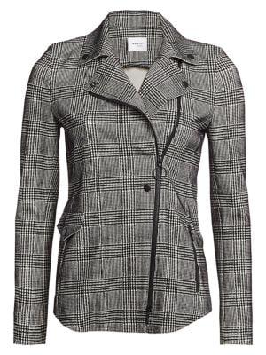 Flocked Glen Check Asymmetric Zip Jacket