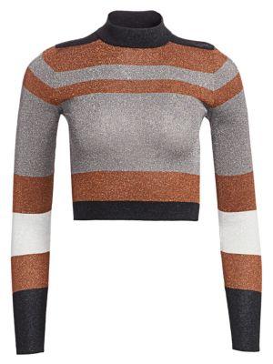 BRUNELLO CUCINELLI | Cropped Long-Sleeve Lurex Knit Sweater | Goxip
