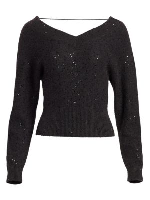 BRUNELLO CUCINELLI | Cashmere & Silk Sequin Off-The-Shoulder Sweater | Goxip