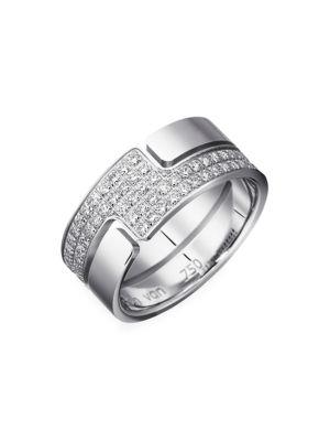 Seventies 18K White Gold & Diamond Pavé Medium Ring