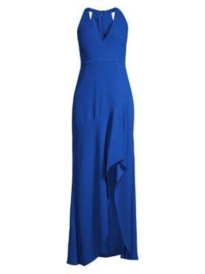 BCBGMAXAZRIA | Sleeveless Halter Ruffle Gown | Goxip