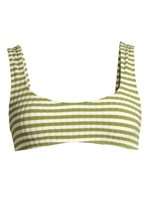 The Elle Ribbed Stripe Bikini Top