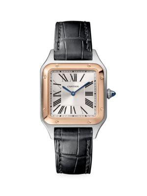 Santos Dumont de Cartier Small 18K Rose Gold, Stainless Steel & Black Alligator-Strap Watch