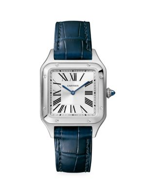 Santos Dumont de Cartier Small Stainless Steel & Navy Alligator-Strap Watch