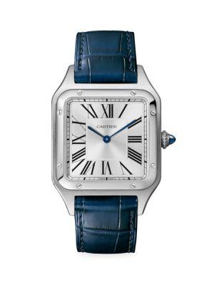 Santos Dumont de Cartier Large Stainless Steel & Navy Alligator-Strap Watch