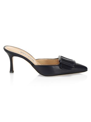 Maysale Leather Point-Toe Buckle Mules