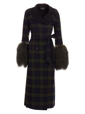 Elea Plaid Removable Shearling Cuff Coat