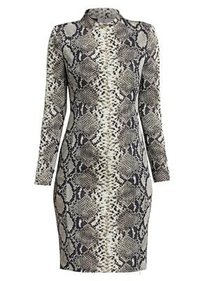Python-Print Stretch Silk Dress