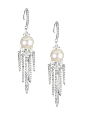 Rhodium-Plated Sterling Silver, 8-8.5mm Pearl & Cubic Zirconia Chandelier Earrings