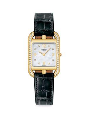 Cape Cod 29MM Diamond, 18K Yellow Gold & Alligator Strap Watch