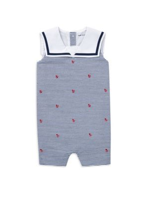 Baby Boy's Embroidered Stripe Romper