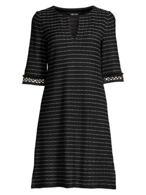 Grommet Trim Tweed Shift Dress