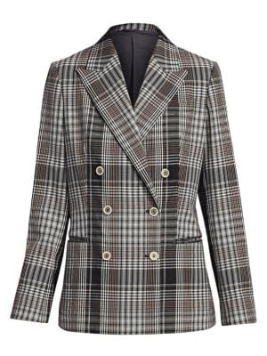 BRUNELLO CUCINELLI | Plaid Double-Breasted Jacket | Goxip