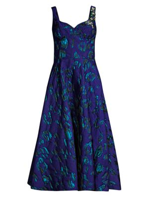 Satin Jacquard Embroidery Fit-&-Flare Dress