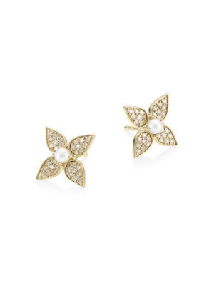 SYDNEY EVAN | 14K Yellow Gold, 2.5MM White Pearl & Diamond Paisley Flower Stud Earrings | Goxip