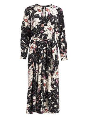 Lympia Printed Stretch-Silk Midi Dress