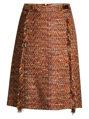 Multi-Tweed Midi Skirt